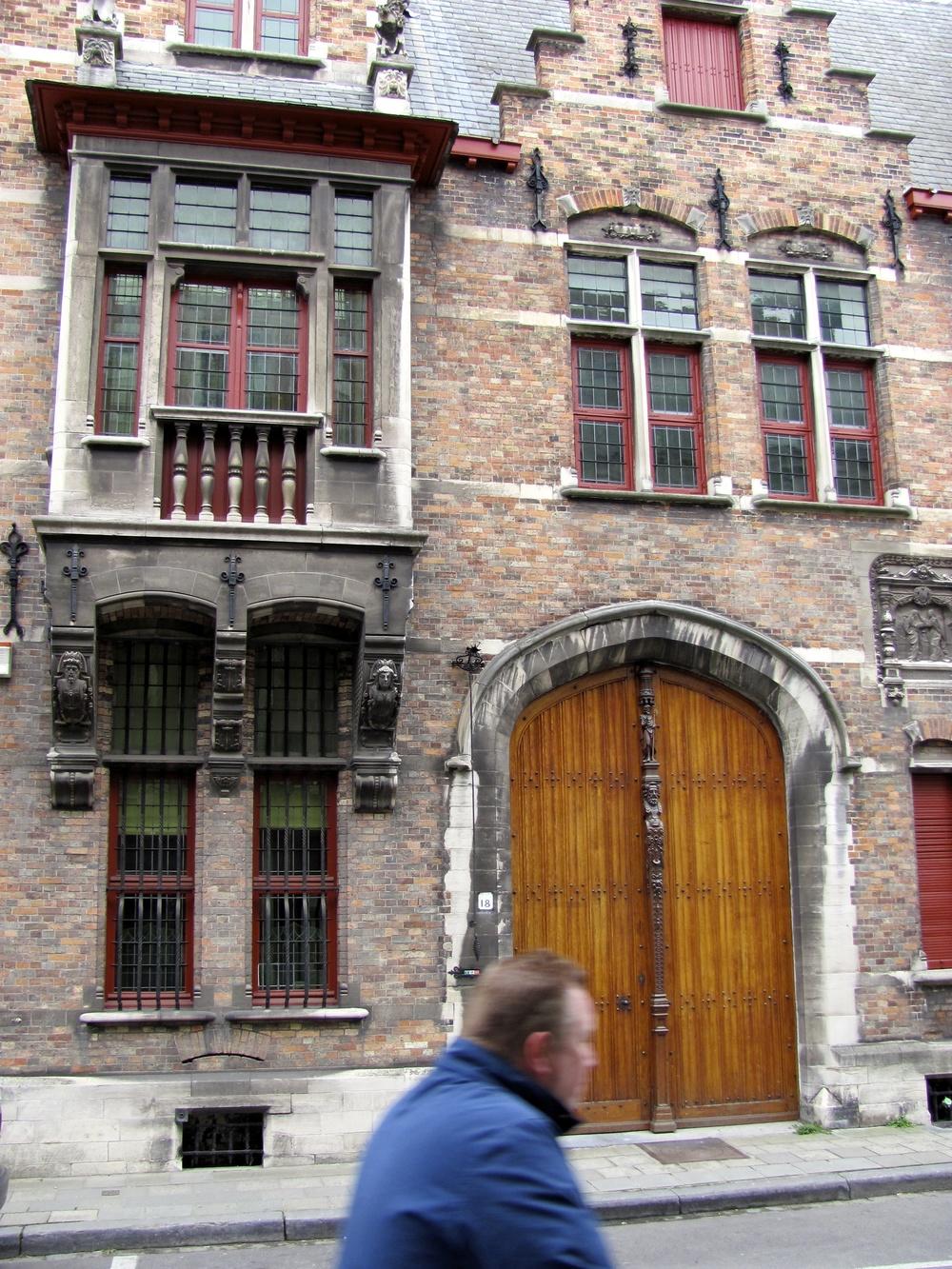 Detailed residential facade, Bruges, Belgium, VHS 2010
