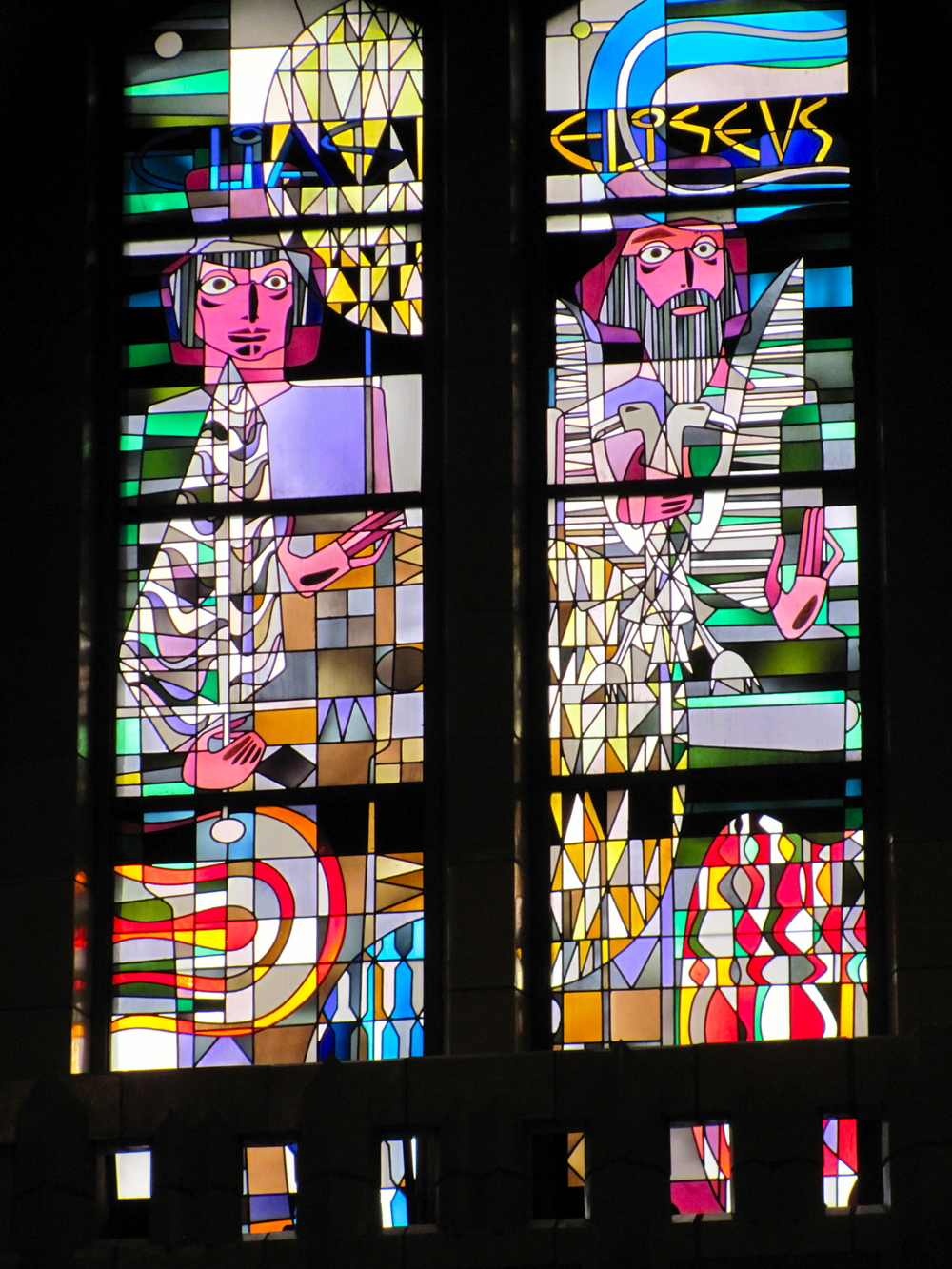 Stained glass window in the Basilique Nationale du Sacre-Coeur, Brussels, Belgium, VHS 2010