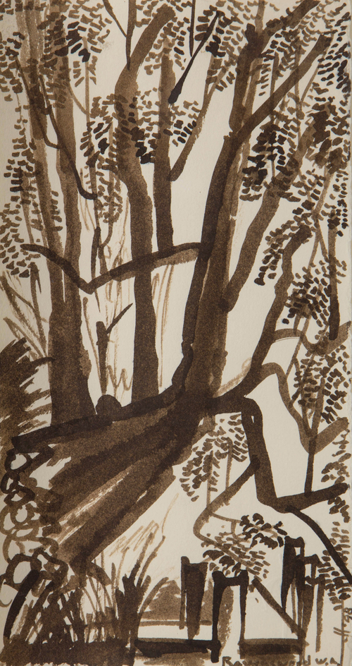 "The Tree At The River , WA  Japanese Ink Brush on Rag Paper 7"" x 5"" 1998 NFS"