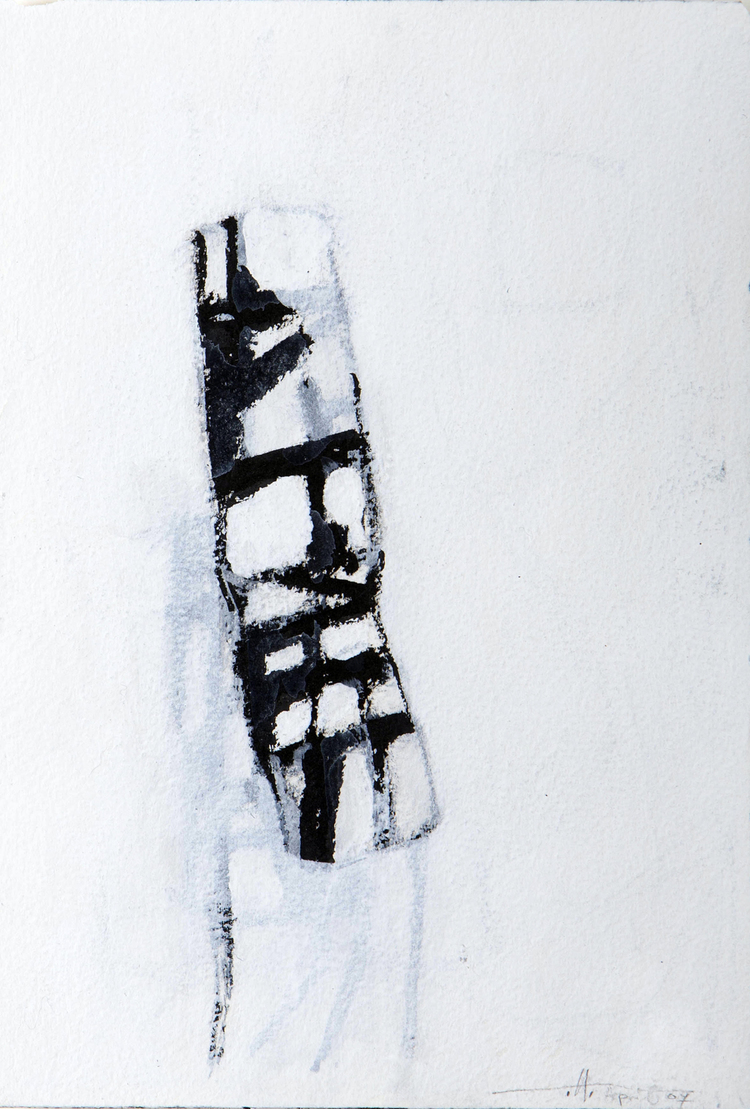 "Broken Man , BC  Japanese brush, Acrylic on Paper 4"" x 6"" 2007, $225 / Framed"
