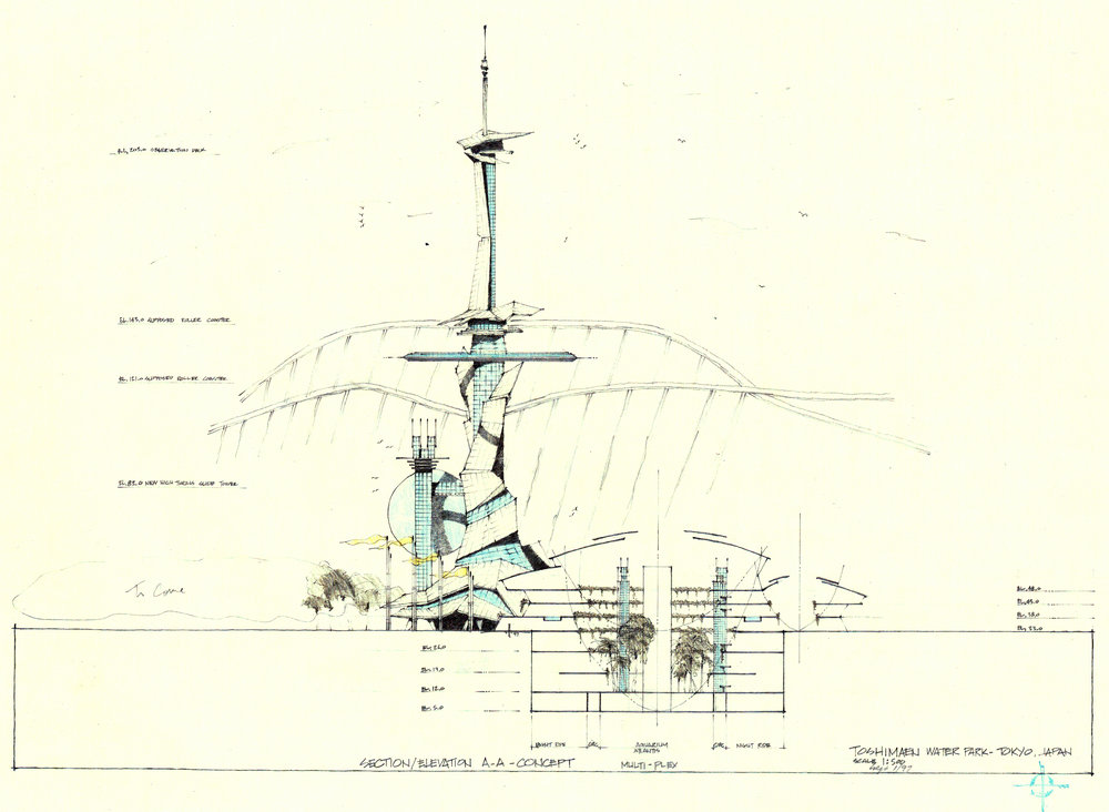 Observation and telecom tower with high speed water slides