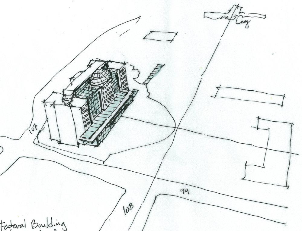 Edmonton Federal Building Aerial Concept looking towards Legislature Building