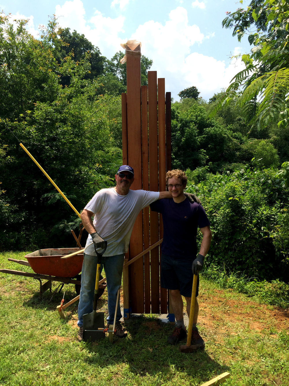 June 2014: Michael Montgomery and James Lismore at our first trailhead sign on the Meadow trail