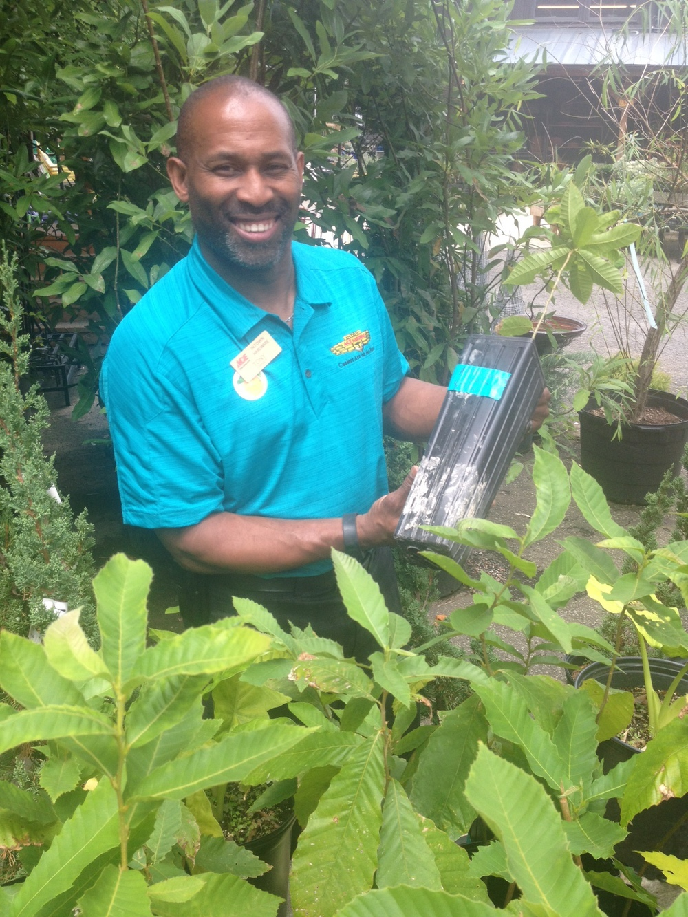 SFC Board Member Tony Powers, also co-owner of Ace Hardware in Decatur, welcoming Chestnut saplings (summer 2013)