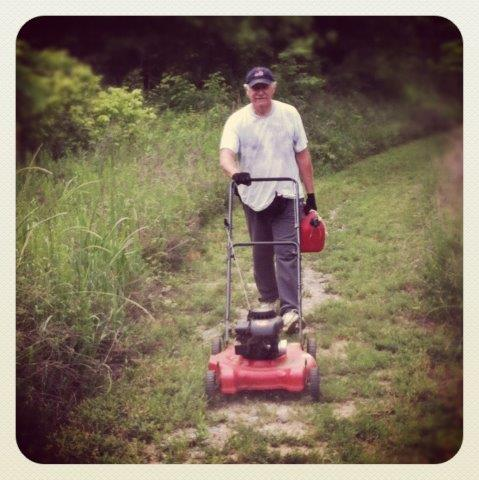 Bob Scott mows the Confluence Trail every two weeks with the help of fellow neighbor Wayne Owen. Our heroes.