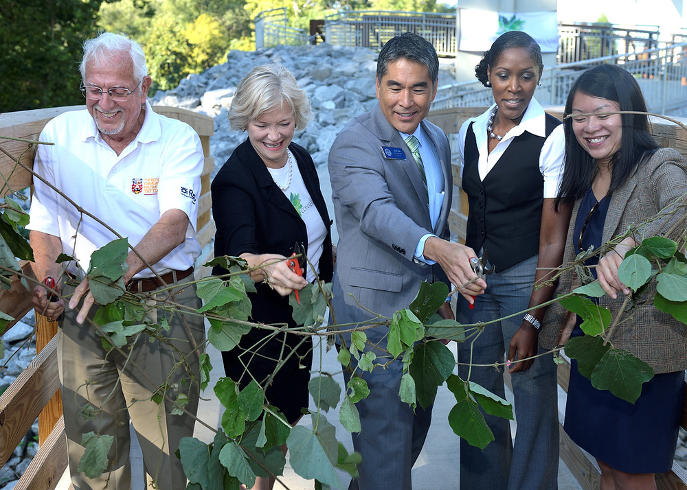 From Left to Right: SFC Board Chairman Bob Kerr, SFC Executive Director Sally Sears, Councilman Alex Wan, Sustainability Director Denise Quarles, Dept of Parks and Rec Commissioner Amy Phuong. Photo courtesy of Eric Bowles' Photography
