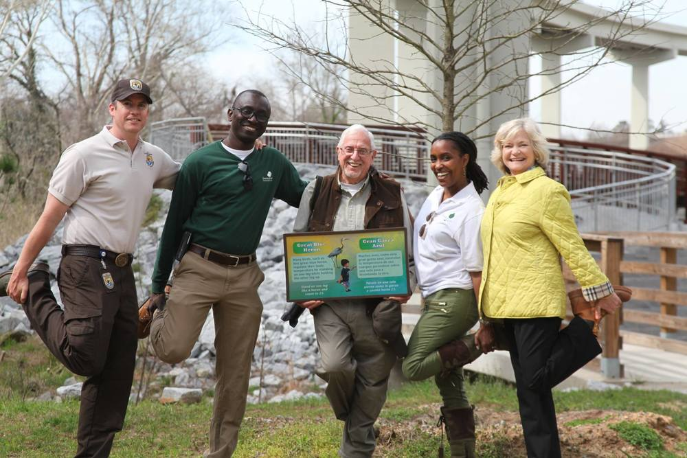 Left to right, Kevin Lowry, US Fish and Wildlife Service; Mike Fynn, VP Operations, Greening Youth Foundation; Bob Kerr, Chair, South Fork Conservancy; Angelou Ezeilo, CEO and Founder, Greening Youth Foundation; Sally Sears, South Fork Conservancy.