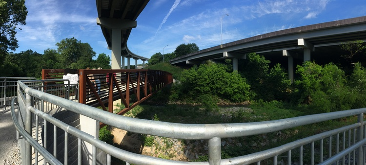 A panorama of the Cheshire Farm Trail shows the Ga. 400 fly-over above.