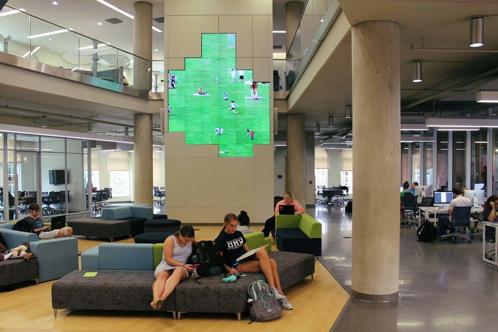 Installation view of   Green Play   at the  UMW Media Wall