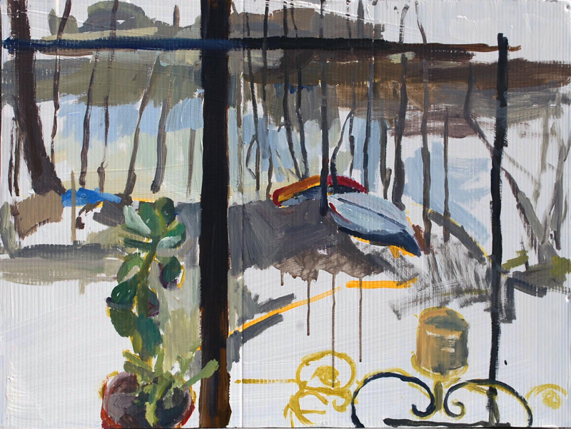 "River Painting- Woodrow Place. 24"" x 36"", 2011 Acrylic on plastic signboard (series of 6)"