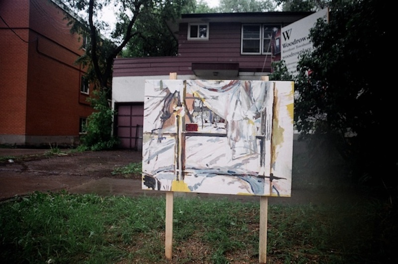 Digital Image. Woodrow painting installed in front of home. 2012