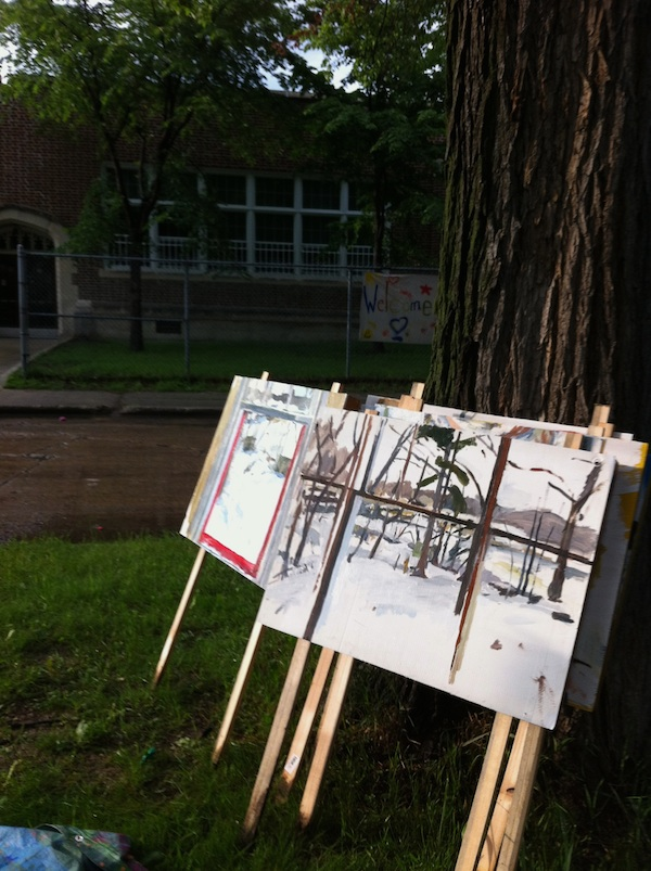 Digital Image. Woodrow paintings ready to be installed in front of homes. 2012
