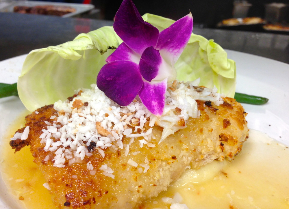 Coconut Grouper FRESH grouper, panko bread crumbs,  jumbo lump crab,  toasted coconut,  spiced coconut butter