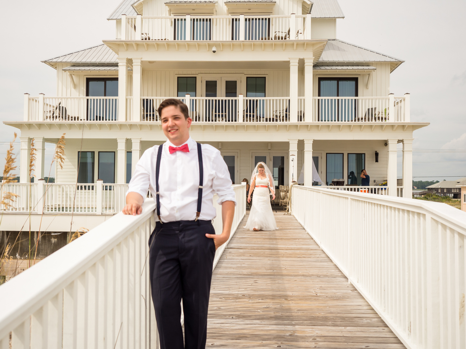 private beach house wedding reception