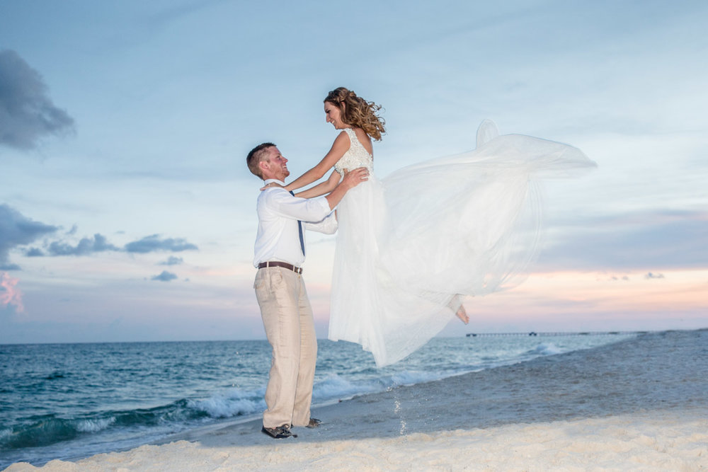 Sunset Wedding at Gulf State Park Beach Pavilion