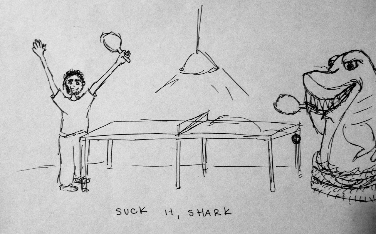 this was comissioned.   that is a sucky shark.   that shark is in an inflatable pool (sharks need agua)