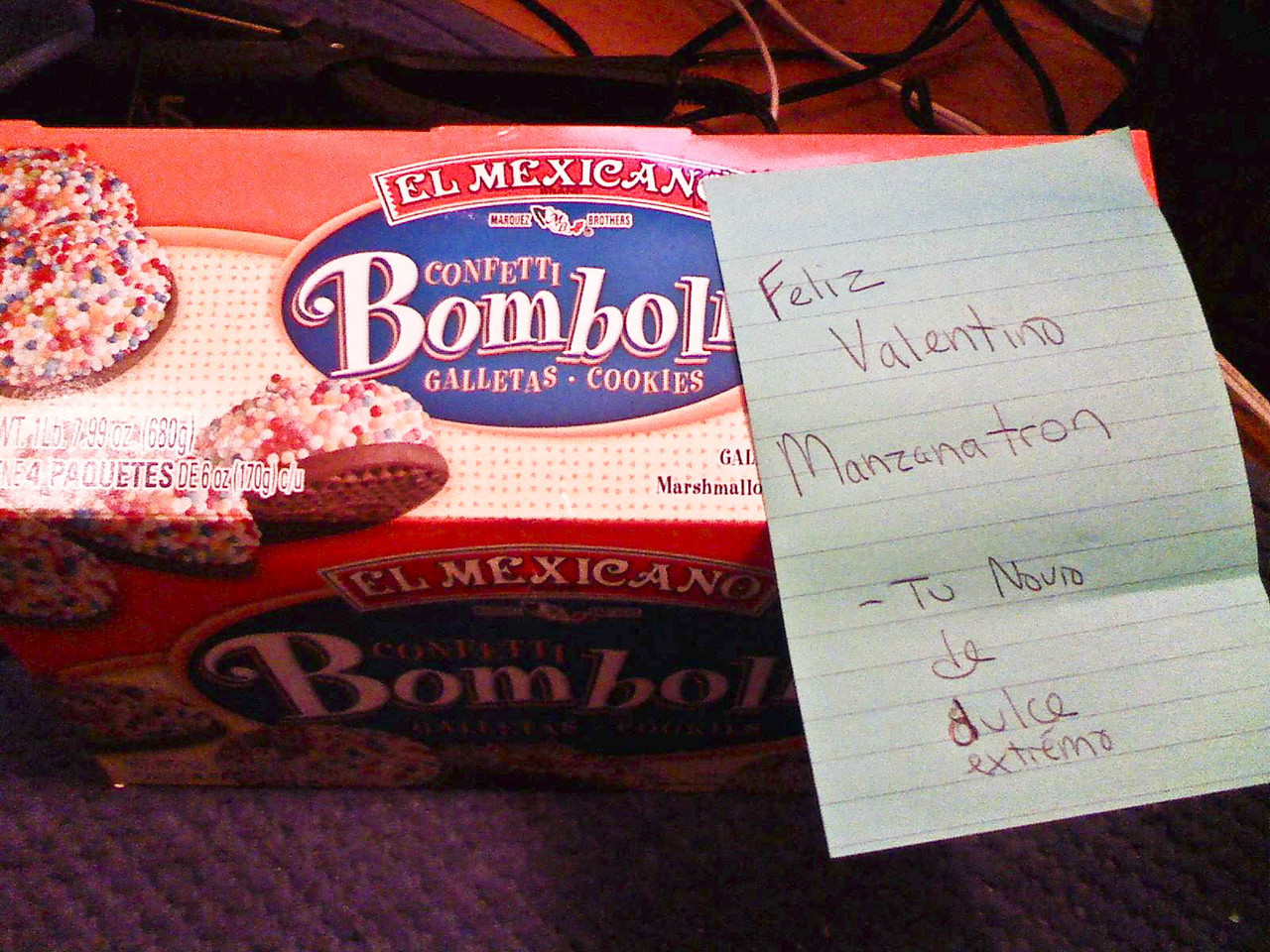 what matt left on my bed while i was gone at an all-day childcare conference/crapfest on valentine's day    the cookies are barely edible!