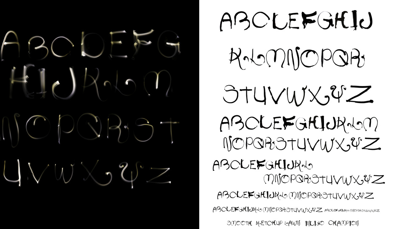 a typeface i designed based on writing letters with light on camera