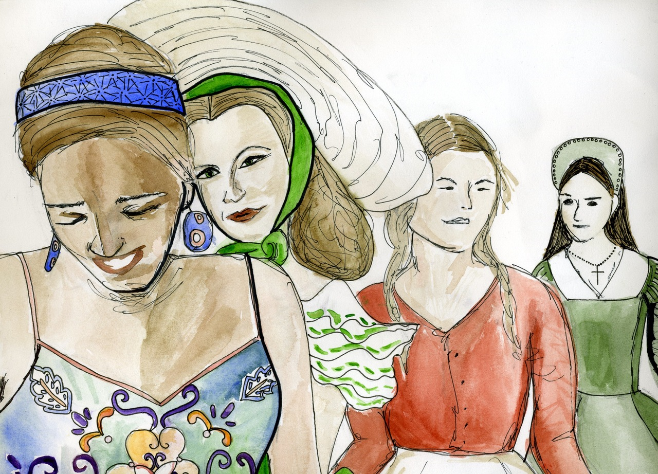 self-portrait from my memoir project from hell.    me, scarlett ohara, laura ingalls and anne boleyn. i think we're waiting for a bus to go to the mall.