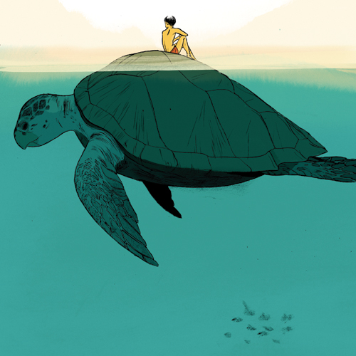 Jillian Tamaki illustration for a david sedaris story in the new yorker.   it's as if i were trying to name drop. it's very peaceful, i love the large space of blue green, but what makes this divine, for me, is the peachy horizon.