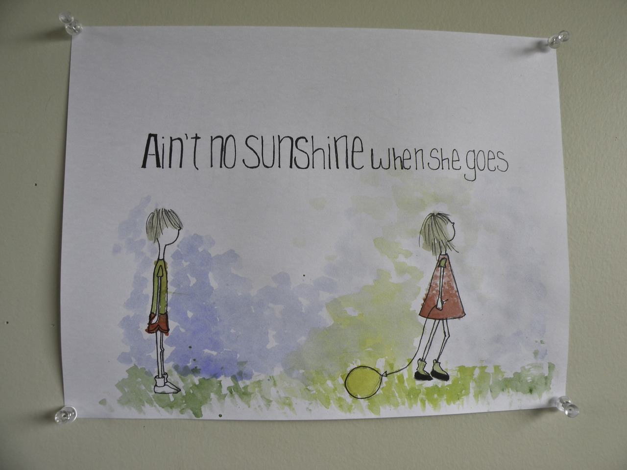 """aint no sunshine"" ink & watercolor.   i love precocious little girls, like eloise, who break hearts. and the little boys who love them.     (britt original)"