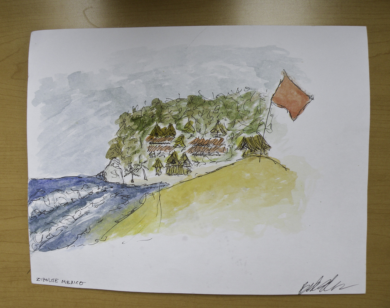 a watercolor i did on the beach in zipolite. i used salt water, which made absolutely no difference but sounds exotic.   i really liked painting on the beach because the sun dries the paint so quickly.    (britt original)