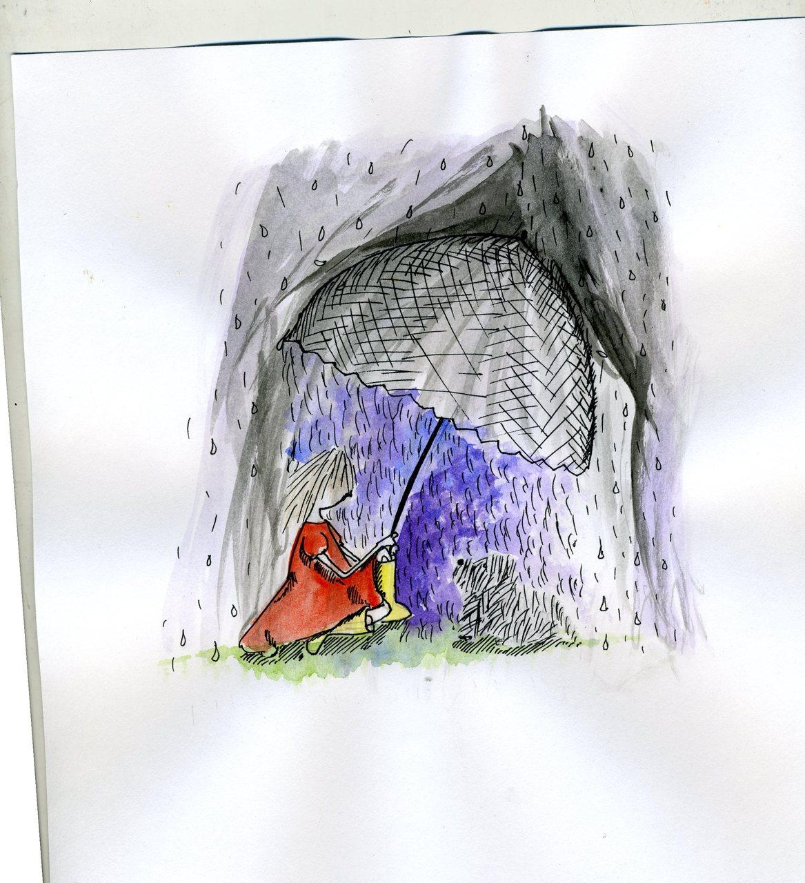 """lee and dog in rain""    (britt original)"