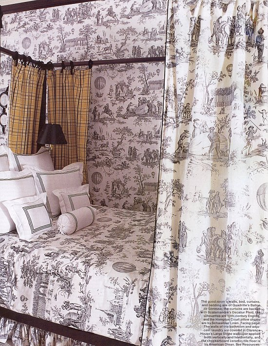 this is for my sister, who's obsessed with toile. the burberry-esque plaid curtains are really terrible. i'd replace them with frilly white, or curtains with giant merimekko flowers