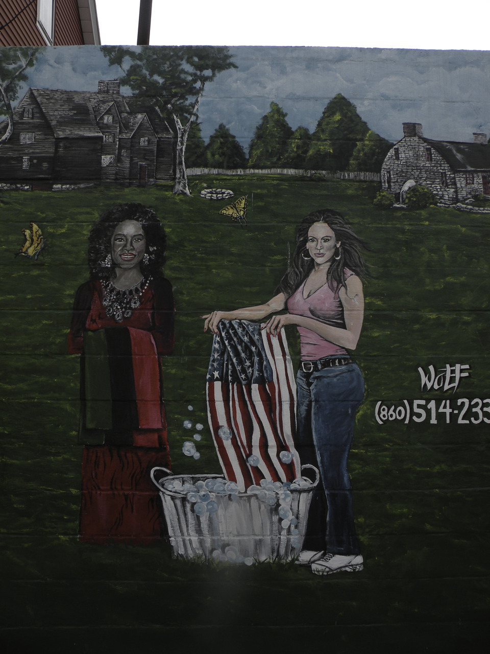 i haven't been able to share my projects lately because they've been gifts for people who read this. i made a movie for my sister and i'm working on a thing for a person right now. later today we're going to bend for memorial day but i'll leave you this amazing & inspiring mural my sister took me to in new london, connecticut, depicting oprah & j.lo washing an american flag. enjoy