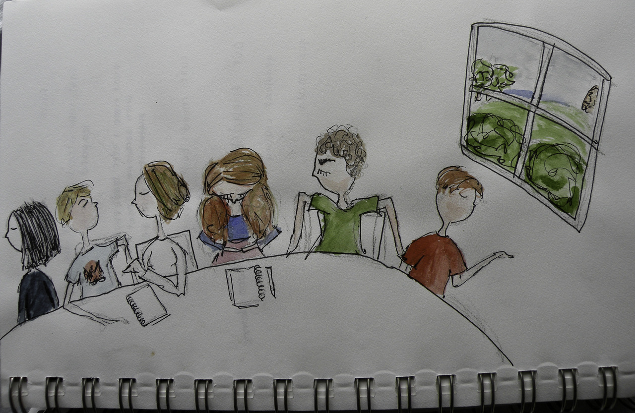 i illustrated my first meeting of the matthew i date. i'm the goof being shy with the giant hair. notice how straight my notebook & pencil are. i wrote my homework on my hand but by G.O.B. was my stuff organized on the table. he's the hunk next to me. the girl to the other side of me is kate deconinck, who is younger than me, has a masters, and is starting her PHD.