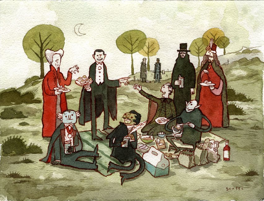 "marinaesque :      ""Picnic With The Draculas"" by Scott Campbell"