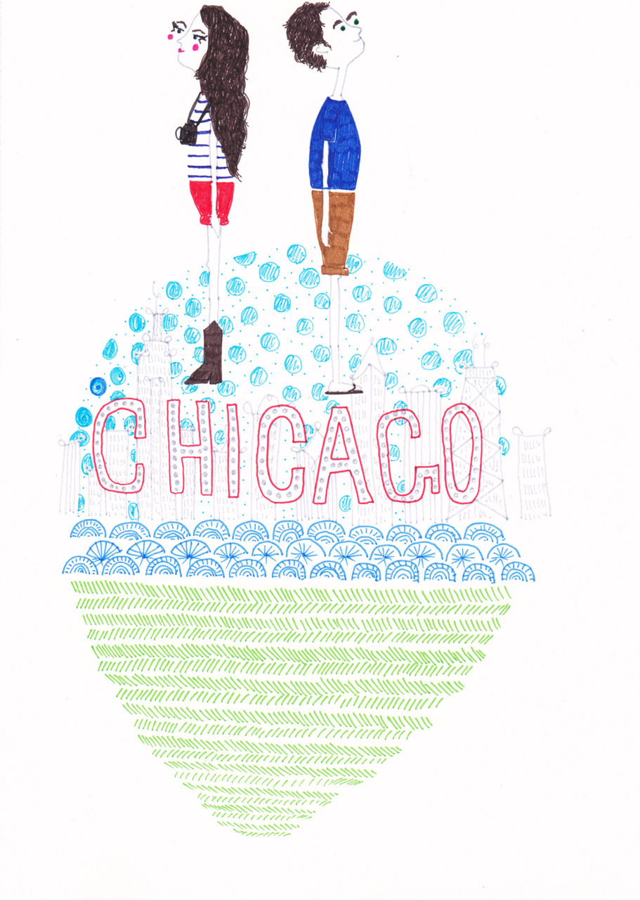 Pete & I are flying to Chicago tomorrow for a conference (him) and to visit my family, so I drew this awkward picture about it. I'm feeling quite awkward today because I hate my dress (too conservative) and so all my jokes and drawings are very awkward. I drew the people first, and then all the other stuff, and I am quite sad I drew people because all the other stuff is nice.