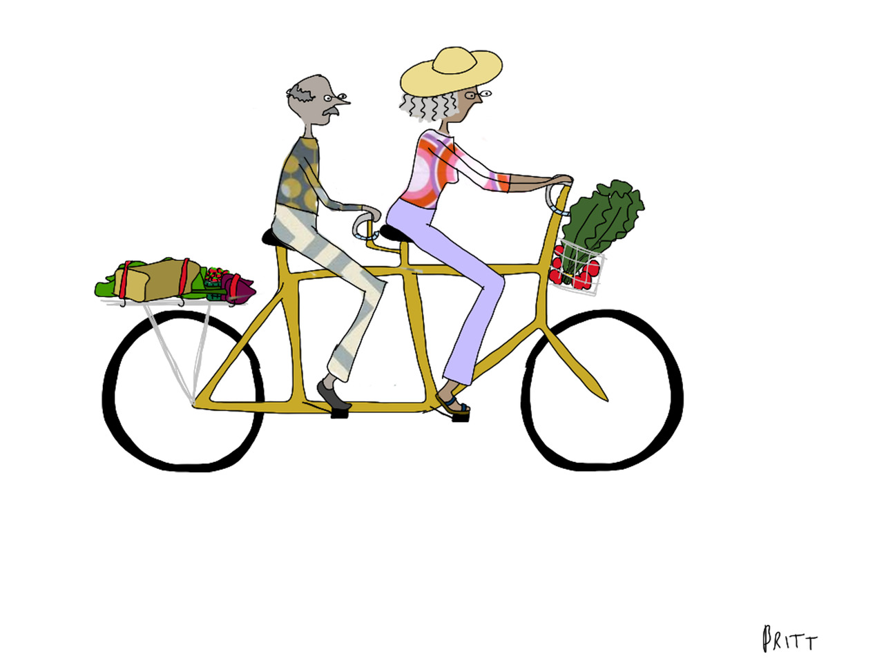 Everything is all done (ish) and ready to go (ish) for the opening of  my art show  (ish) tomorrow night. I'll share all the illustrations once the show is up and running, and there will be prints for sale in my web store. For now, though, please enjoy this funky older couple and their farmer's market bounty. A tandem bicycle is at the very top of my WANT list.