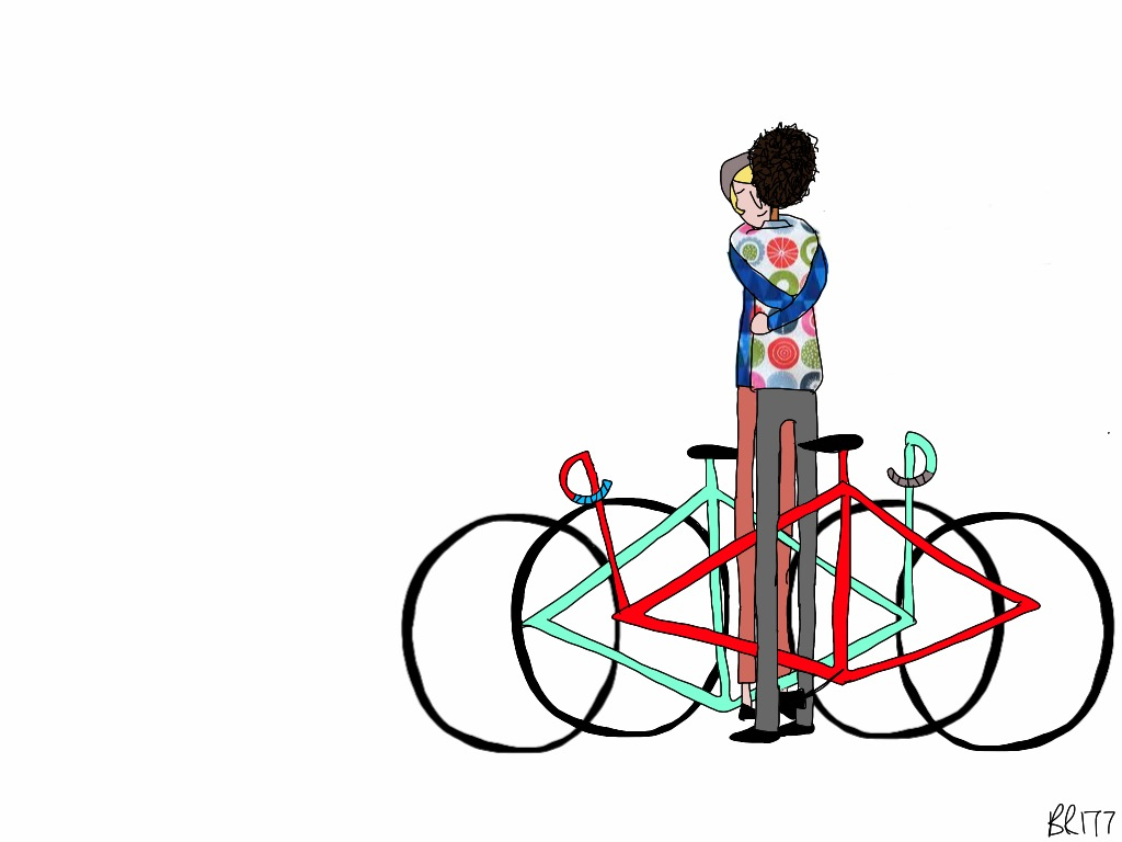 From BIKE/LOVE.    This illustration is intended to articulate hugging when both people are standing over their bike frames. Bikes are involved in our love! (This is one of my favorites)