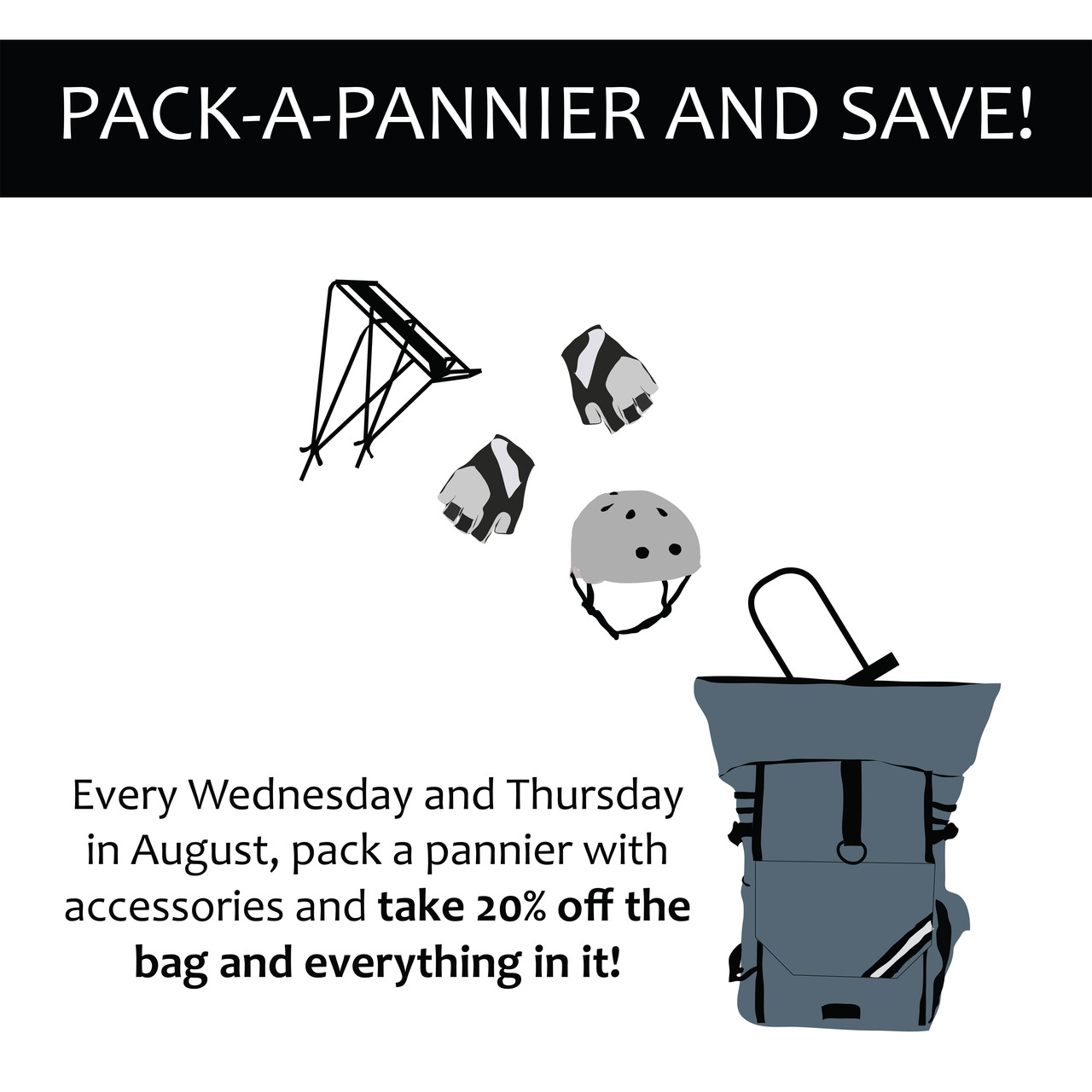 Biking Portlanders -  we're  having a cool special in August. If you have been meaning to get panniers, or cooler panniers, or more panniers, or panniers filled with tons and tons of bike crap, now's the time.    Non-biking Portlanders - panniers fit really well inside car trunks, speedboats, motorcycle helmets, and segway GPS systems.