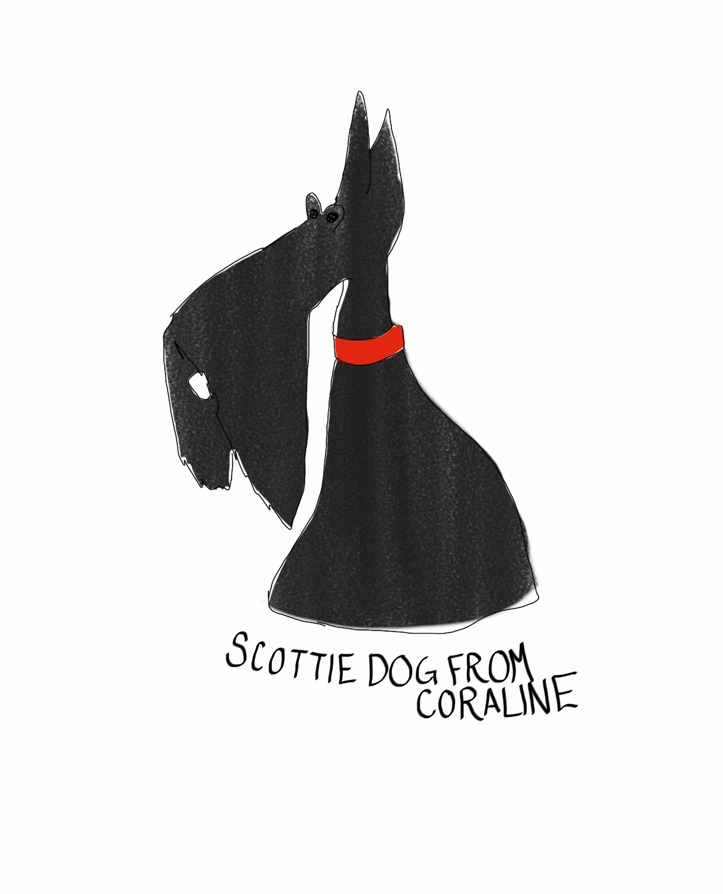 I love the scottie dogs from Coraline. We have the puppets in our lobby at work and they're the versions with the button eyes and they just kill me. They are so cute.