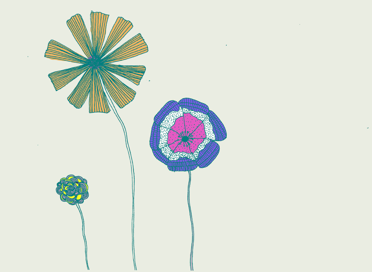 you might be able to tell by me having colored my flower drawing that my COMPUTER IS BACK, and GOOD AS NEW!!!