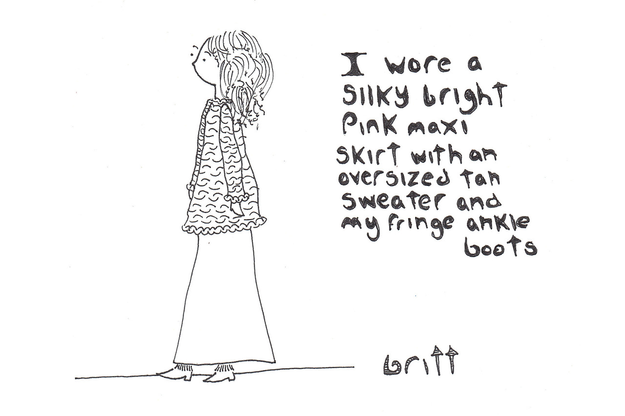 to inaugurate a new sketchbook i made my sister tell me what she wore that day