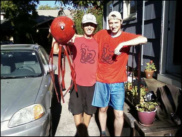 pete and al and our summer ultimate frisbee league team's mascot, the septopus, made by al