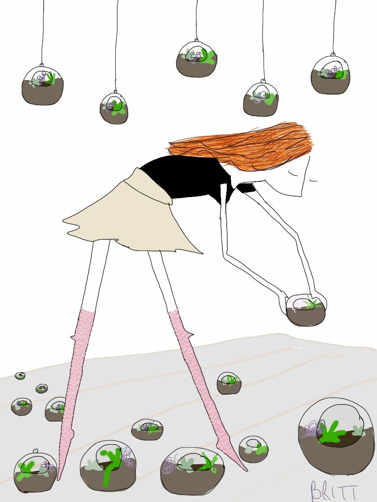She tiptoes around terrariums