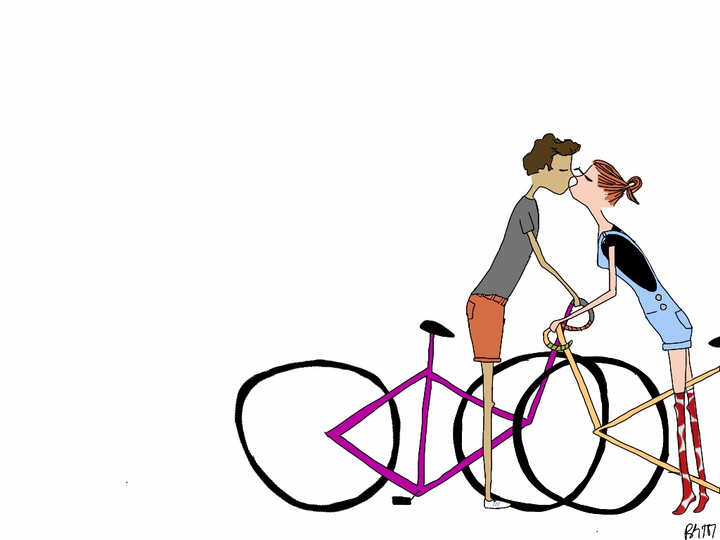 From BIKE/LOVE Similar to the hugging one, this one is about trying to smooch when you're both standing over your bikes.