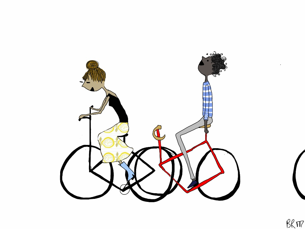 From BIKE/LOVE This one goes with the previous one, friends biking together, stretching across two frames.