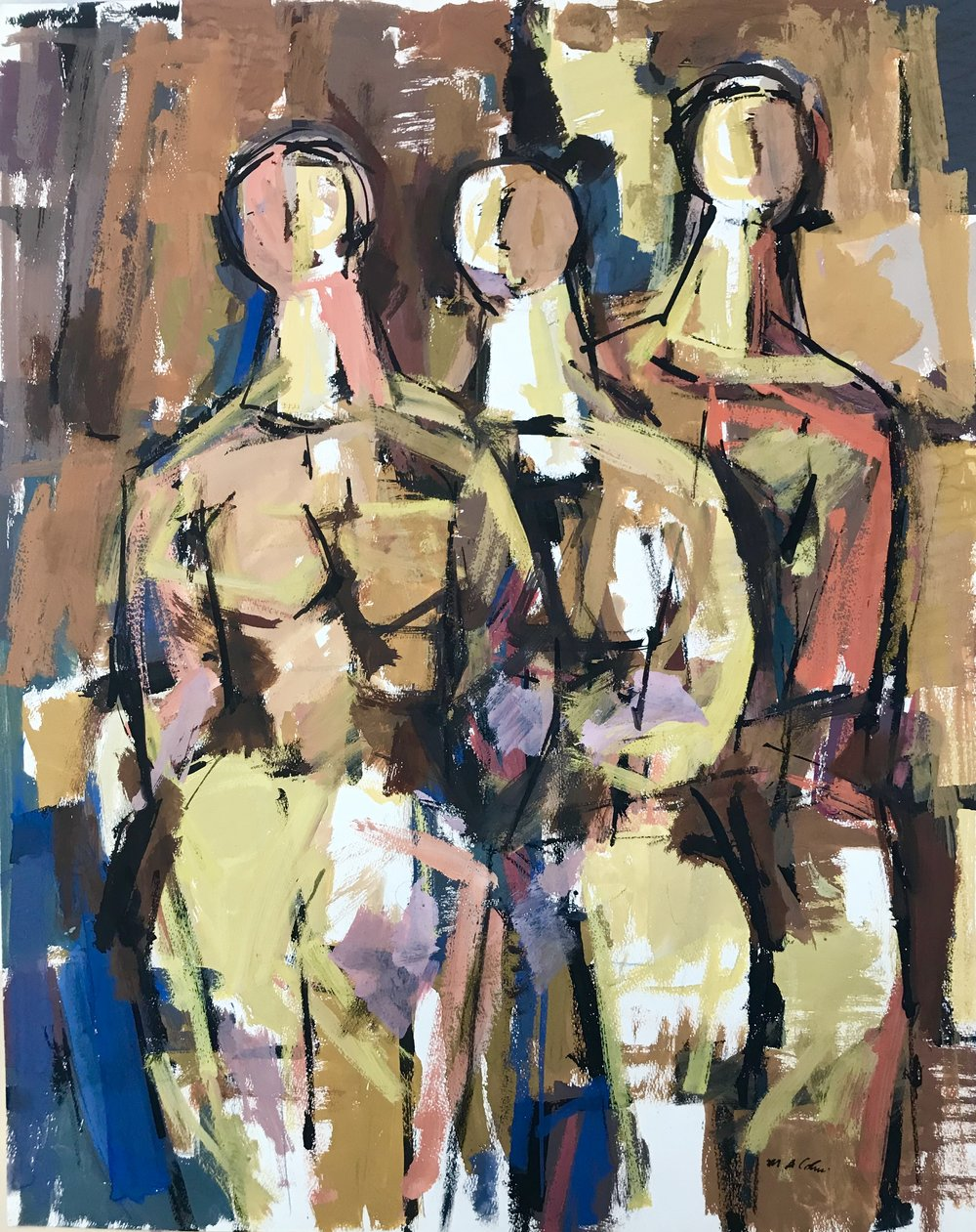 "Three Women  1960-G12 by Max Arthur Cohn 1960 19"" x 24"" Gouache on Paper"