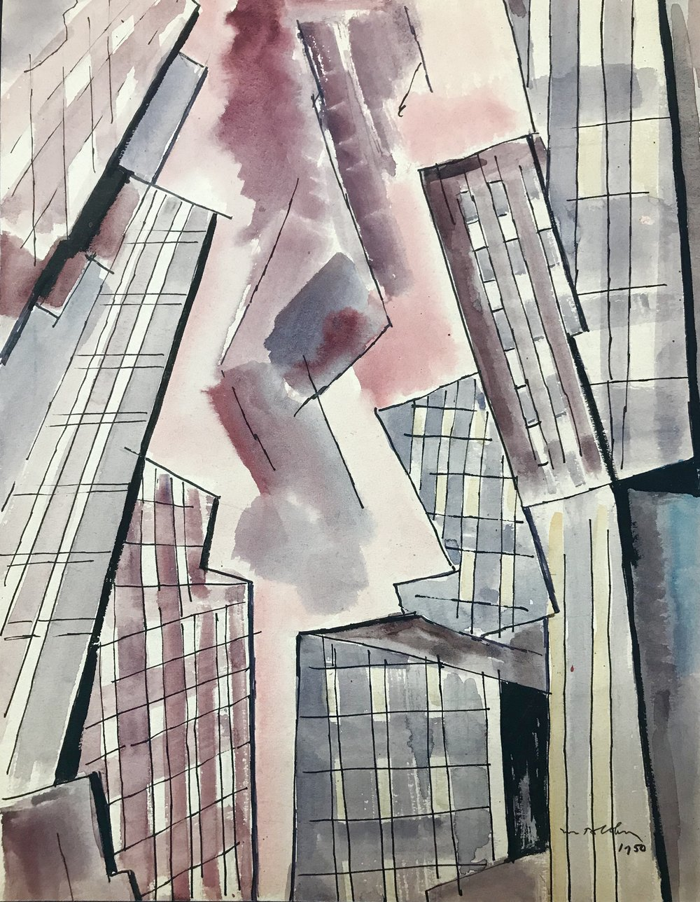 "City Abstract  1950-6 by Max Arthur Cohn Watercolor on Paper 13"" x 16"" 1950 New York City"