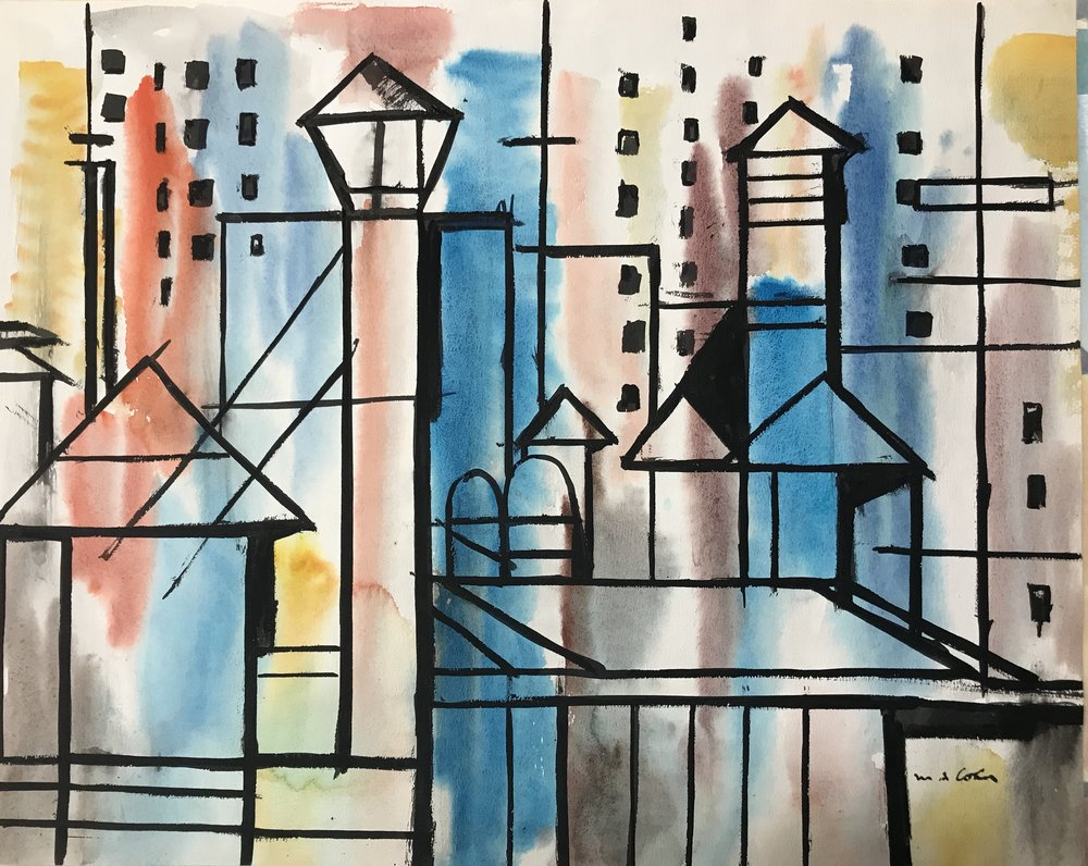 "Rooftops 1948-13 by Max Arthur Cohn Watercolor on Paper 18"" x 23"" 1948 New York City"