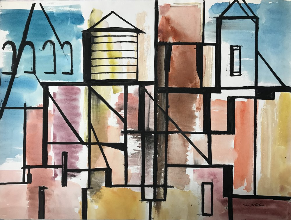 "Abstract Buildings  1948-11 by Max Arthur Cohn Watercolor on Paper 1948 New York City 18"" x 24"""