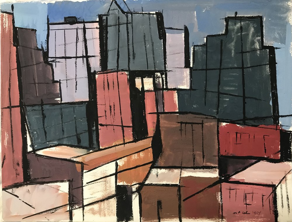 "Abstract Cityscape 1964-G1 by Max Arthur Cohn 13"" x 17"" Gouache on Paper 1964 New York City"