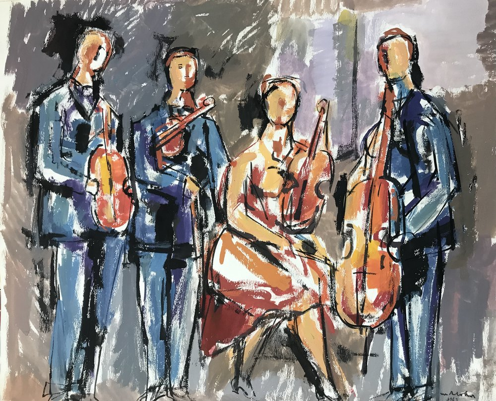 "Quartet 1963-G12 by Max Arthur Cohn 19"" x 23"" Gouache on Paper 1963"
