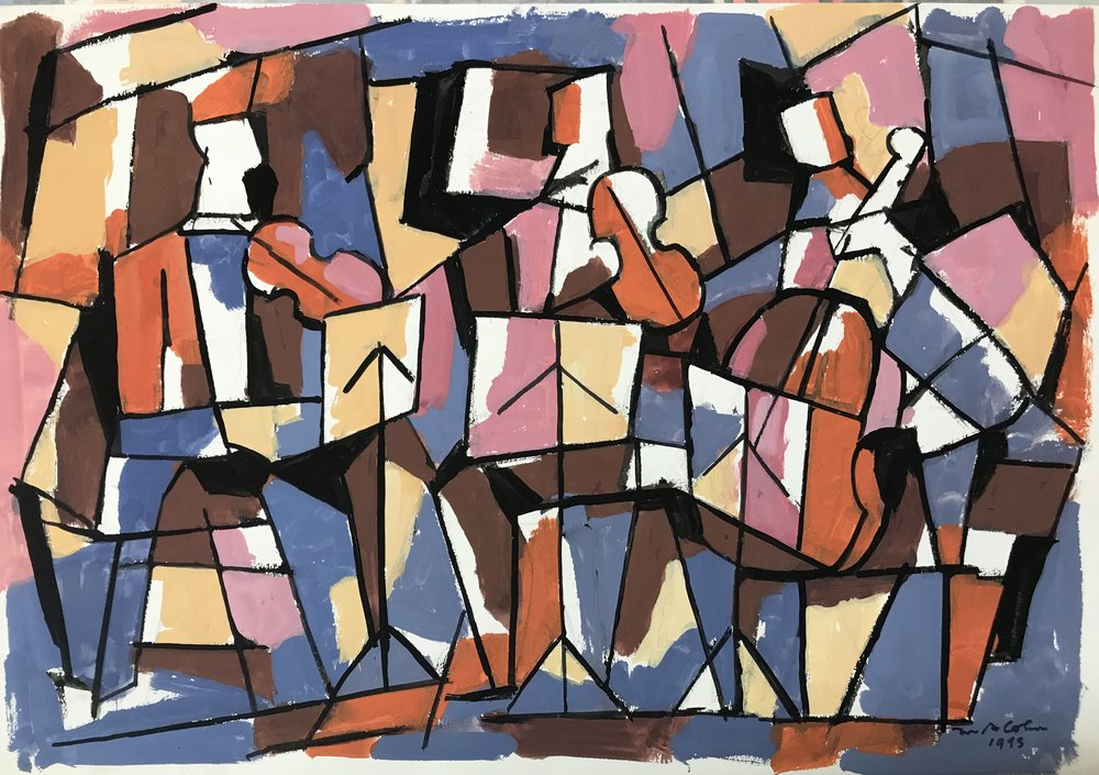 "Trio  1993-G21 by Max Arthur Cohn 15"" x 22"" Gouache on Paper 1993"