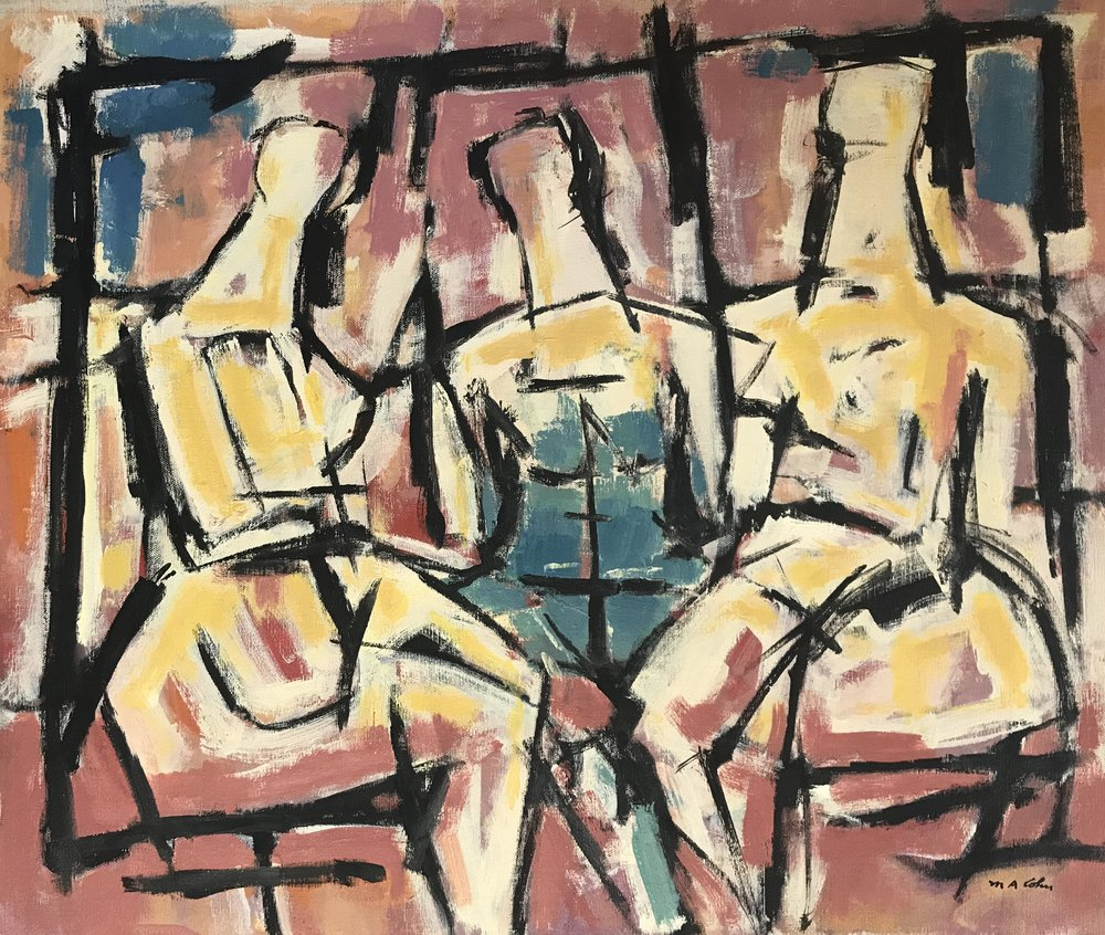 "Three Abstract Figures 592-1975 by Max Arthur Cohn 20"" x 24"" Oil on Canvas 1970"